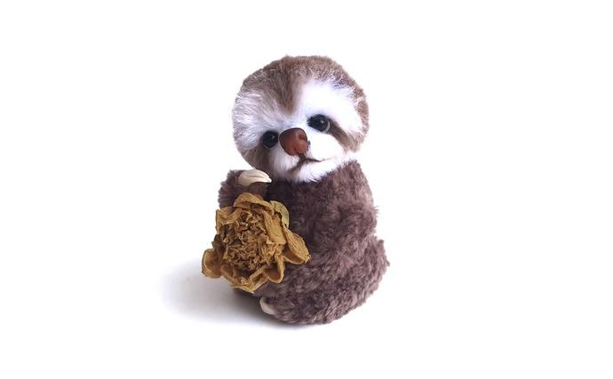 Brown sloth, Crochet Amigurumi Sloth, Stuffed sloth, Interior toy, Exotic forest