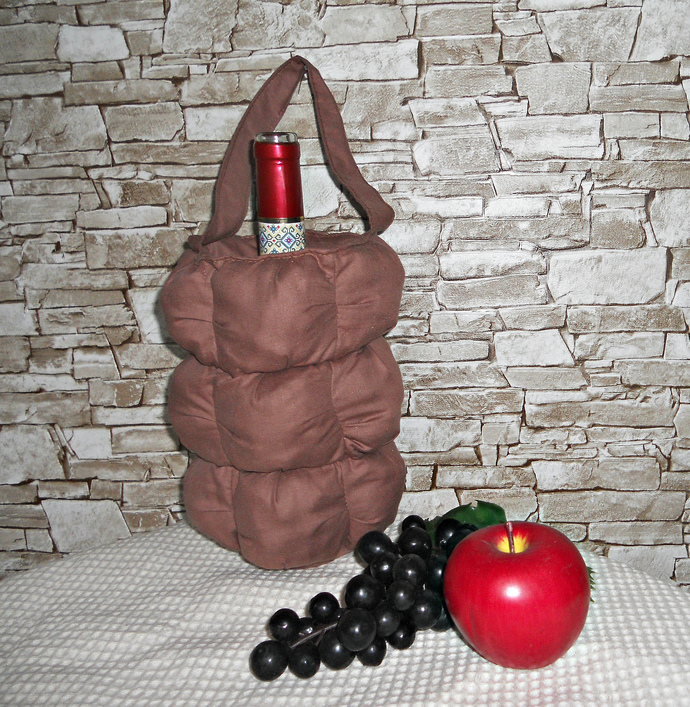 Soft tote bottle ,  container for storage bottle wine ,  from linen fabric,