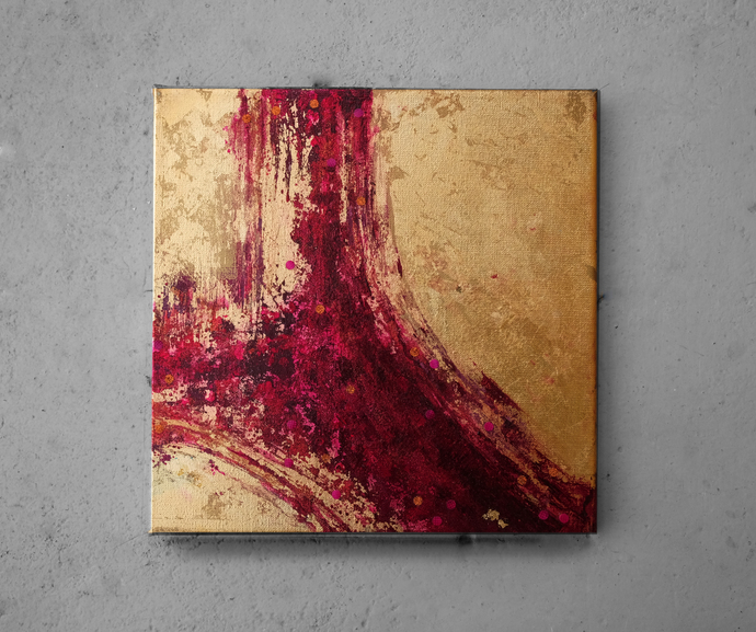 Abstract Painting Original ,Gold Leaf fuchsia , red Painting, Painting Texture