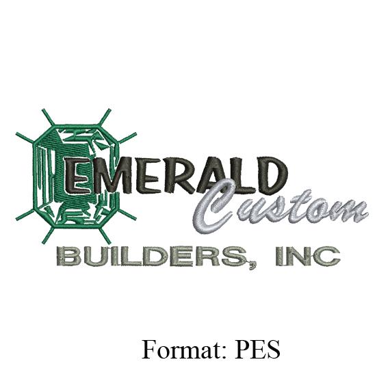 Custom embroidery design , EMERALD custom Builders logo embroidery design ,