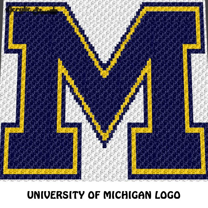 University of Michigan Wolverines Letter Logo M crochet graphgan blanket