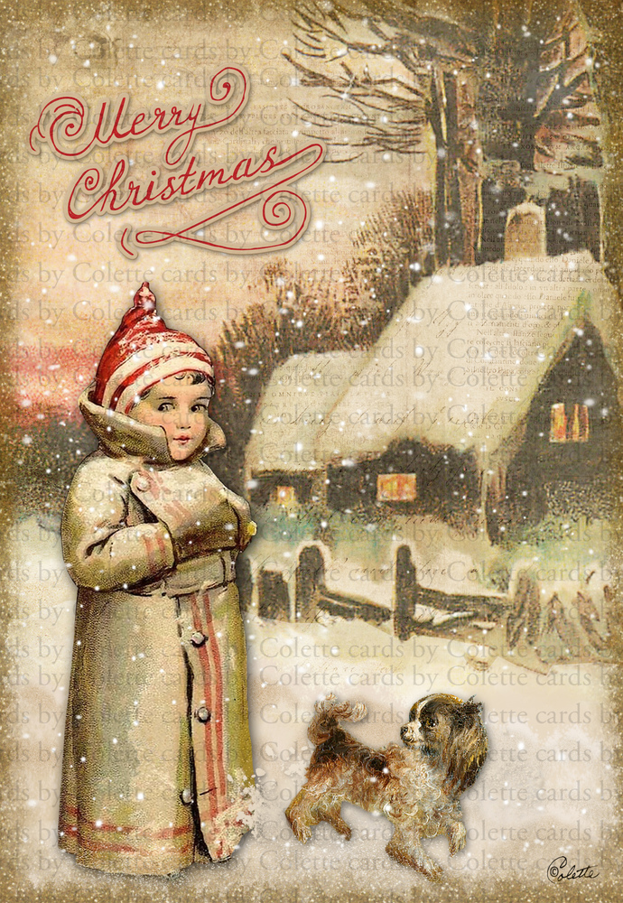Old Fashioned Christmas Digital Collage Greeting Card2490