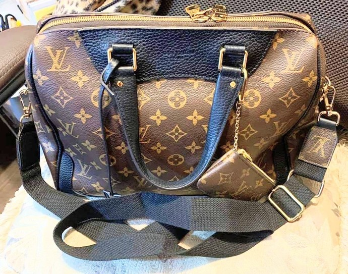 Louis Vuitton black bag strap - Louis Vuitton bag strap - upcycled LV bag strap