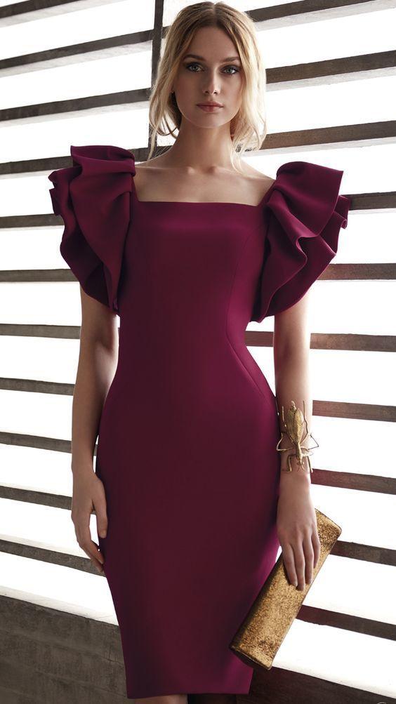 Burgundy Ruffles Shealth Short Prom Dress Cocktail Party Dress