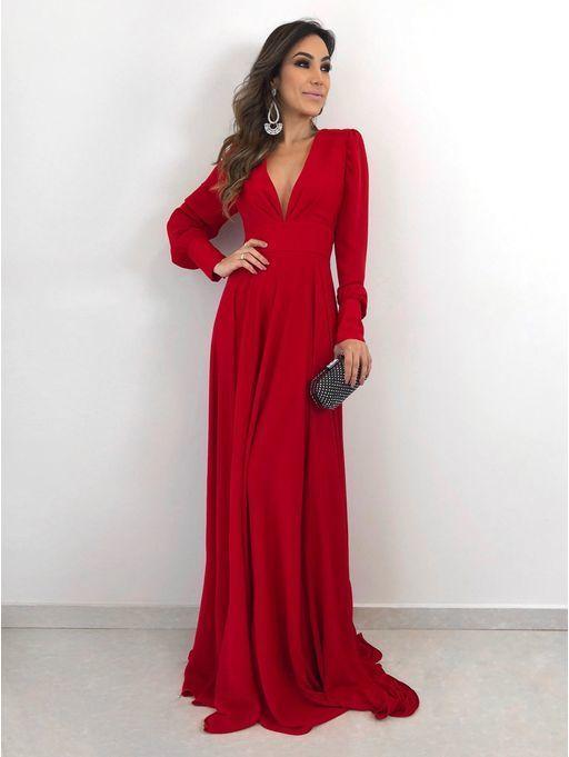 Long Sleeves Red Woman Maxi Dresses Prom Dress Long Evening Dress