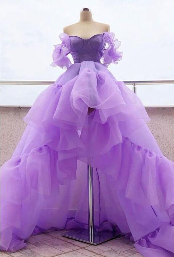 Sexy Lavender Tulle High Low Prom Dresses Custom Made A Line Cheap Prom Party