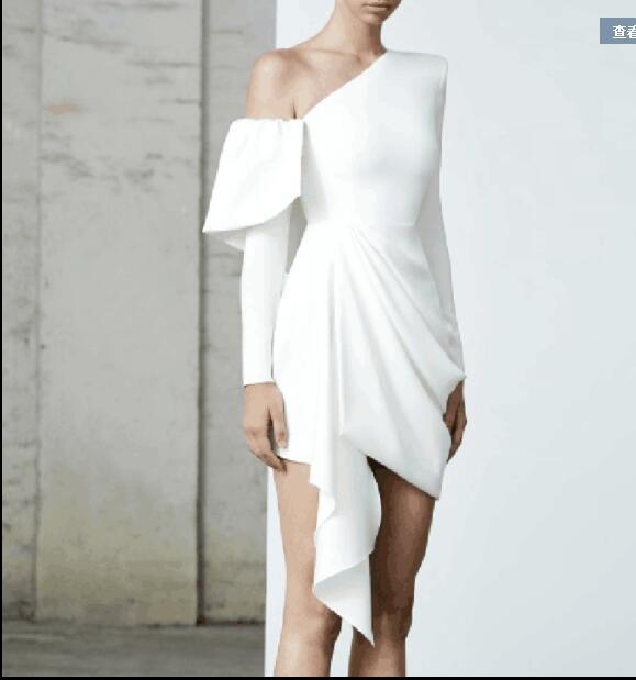 New Arrival One Shoulder White Chiffon Short Homecoming Dress ,Sheath Prom Gowns