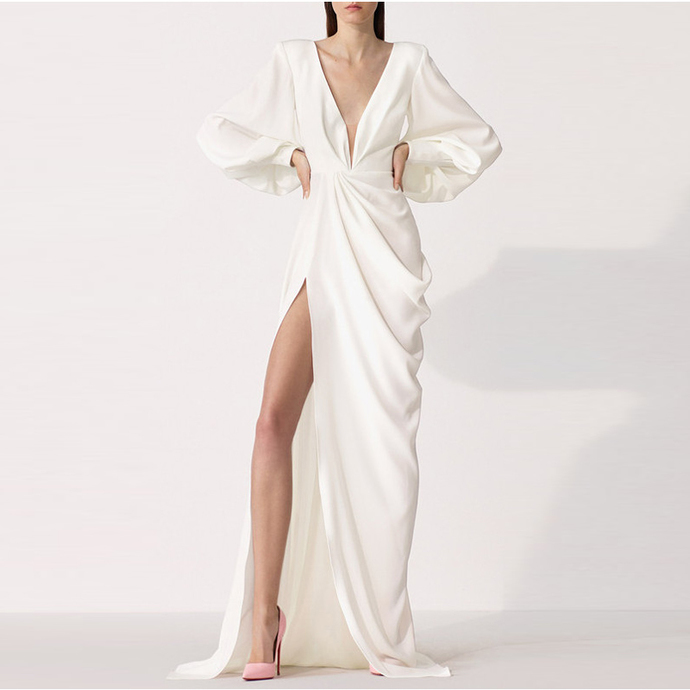 New Arrival White Chiffon Long Sleeve V-Neck Prom Dress Custom Made Women