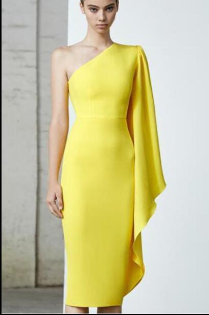 Cheap Yellow Sheath Short Homecoming Dress Custom Made Mini Party gowns ,Wedding