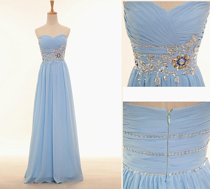 Light Blue Chiffon Sweetheart Beaded Long Party Dress, Elegant Prom Dress