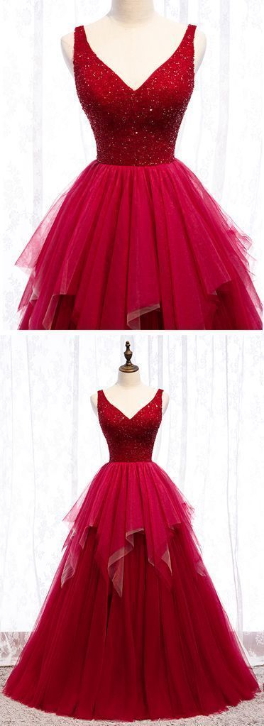 Burgundy Tulle Crystal V Neck Long Lace Up Prom Dress, Evening Dress