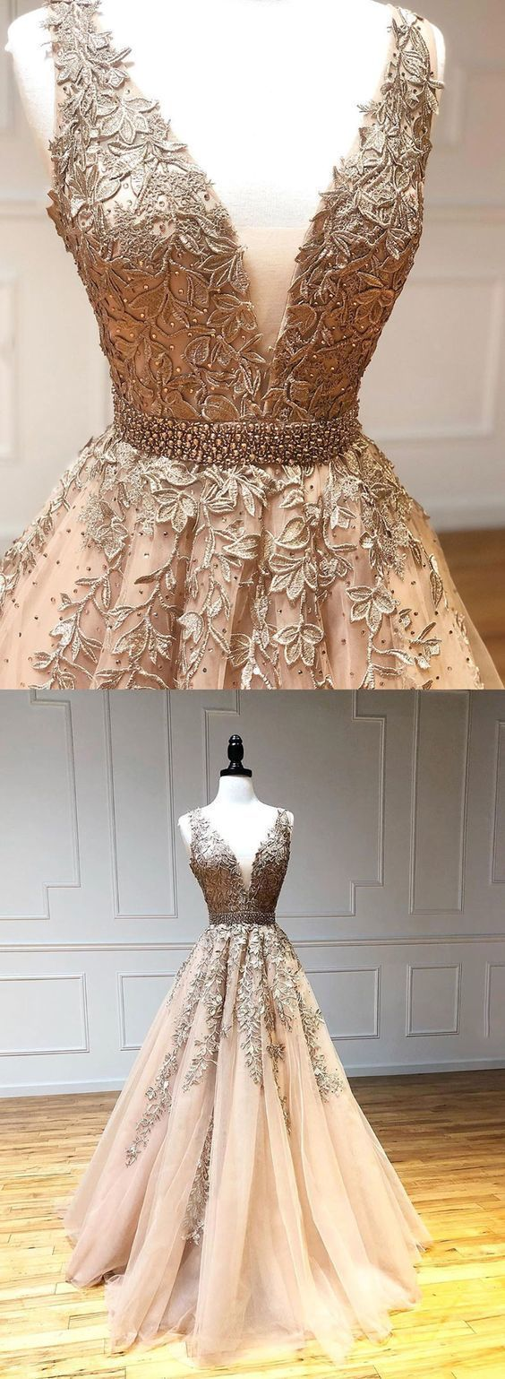 Gold v neck tulle lace long prom dress, evening dress