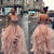 Pink tulle lace long prom gown evening dress