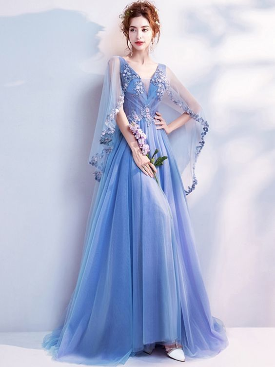 Beadings Embroidery Deep V Neck Fairy Style Blue Elegant Tulle Dresses