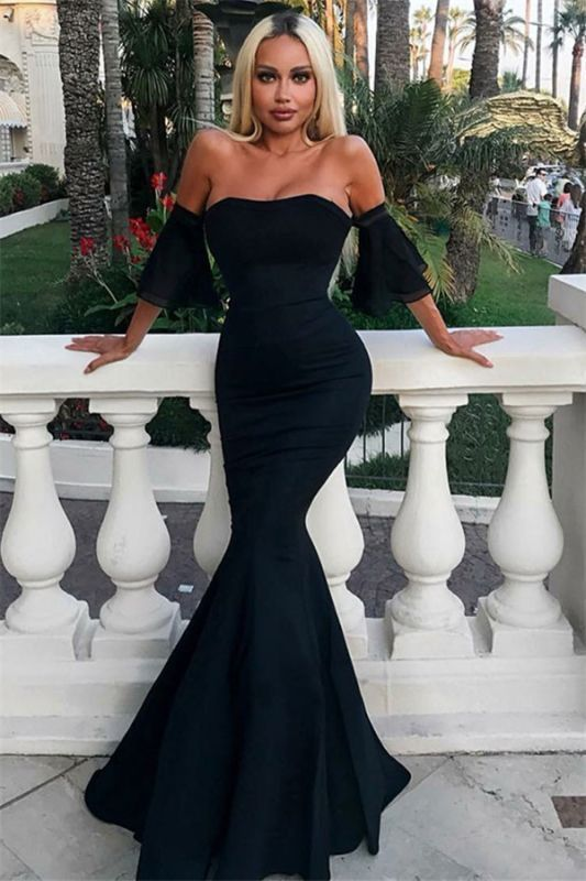 Glamorous Off-the-Shoulder Short Sleeves Sexy Mermaid Floor-Length Prom Dresses