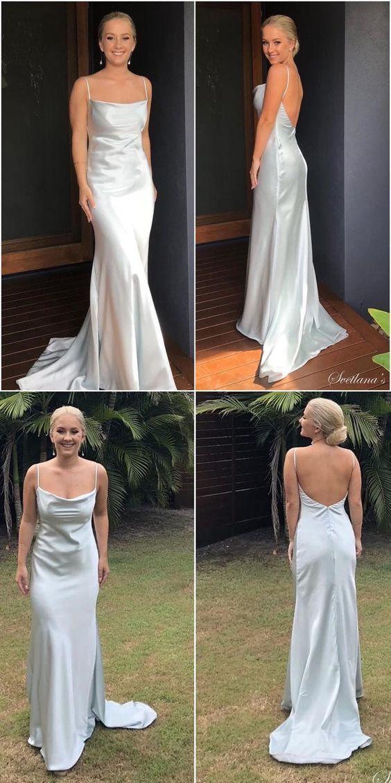 silk satin formal evening dress, spaghetti straps evening dress, long evening