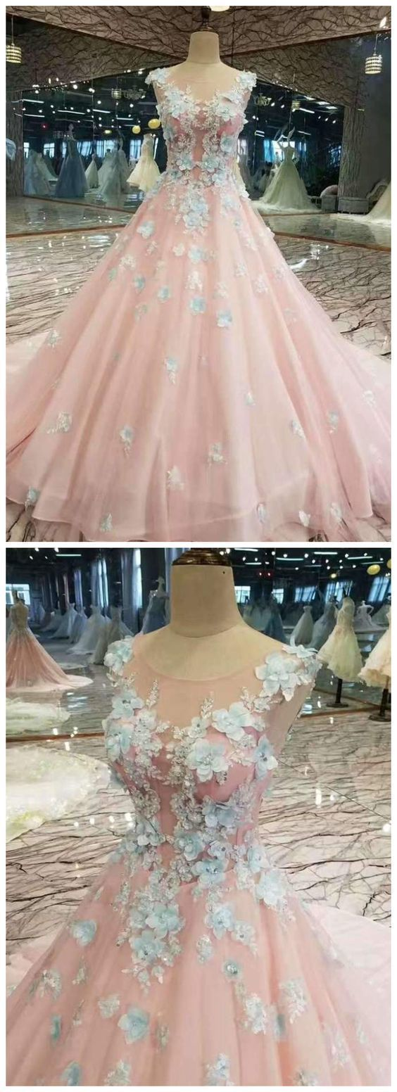 Low Price Floral Prom Dresses Pink Color With Handmade Flowers And Beads