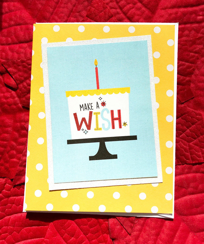 Make a Wish Birthday Cake Greeting 2, Note Card, Year Older, Celebrate, Festive,