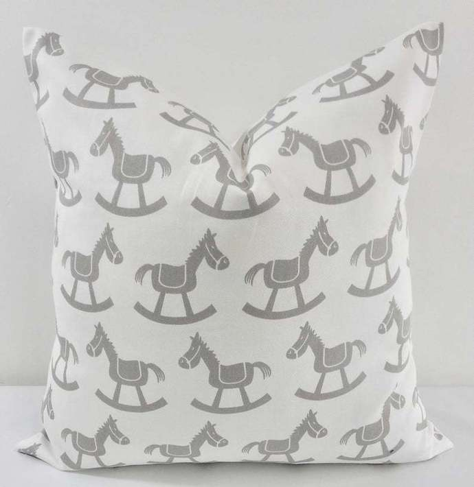 White & Grey  Pillow Cover. Rocking Horse in White and Grey. Cotton.Grey & white