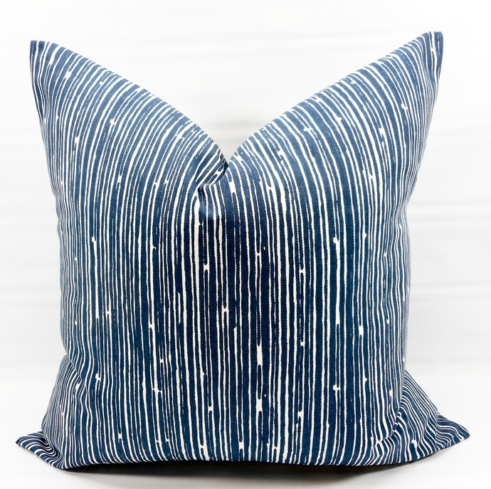 Farmhouse Pillow Cover. Blue  Pillow Cover. Scribble Print Pillow cover.Premier