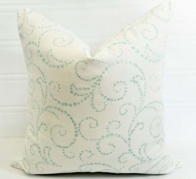 White & Blue  Pillow cover. Scroll Blue and white Decorative Pillow.sham cover.