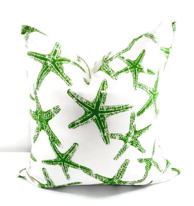 Starfish Green  Pillow cover. Beach Decor.  Sham Cover. Green  and white. Throw