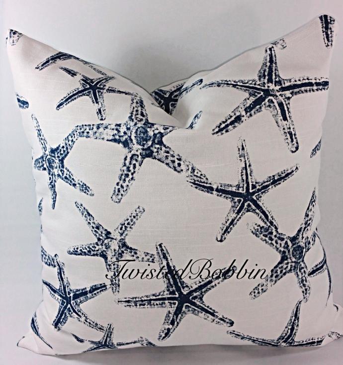 Blue Star Fish  Pillow cover. Beach Decor.  Sham Cover. Blue   and white. Throw