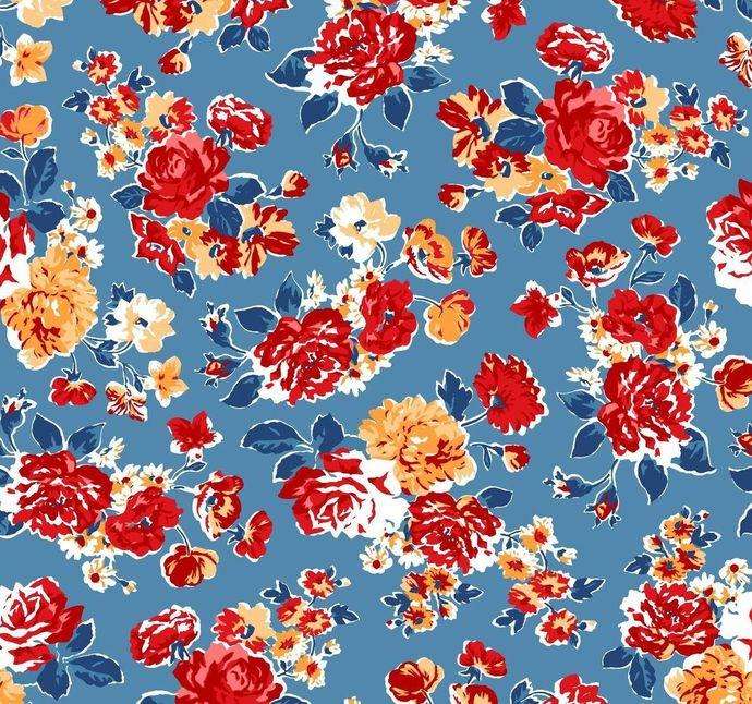 Yardage Cotton Quilt Fabric VINTAGE MIX & MATCH Rose Cerulean Floral Blue Multi