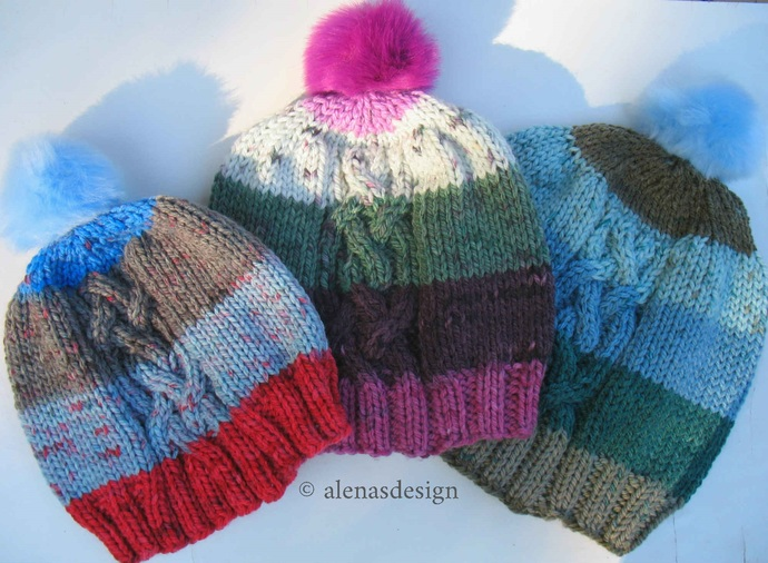 Knitting Hat Pattern 243, Cable Knit Hat Pattern, Cabled Hat Pattern, Slouchy
