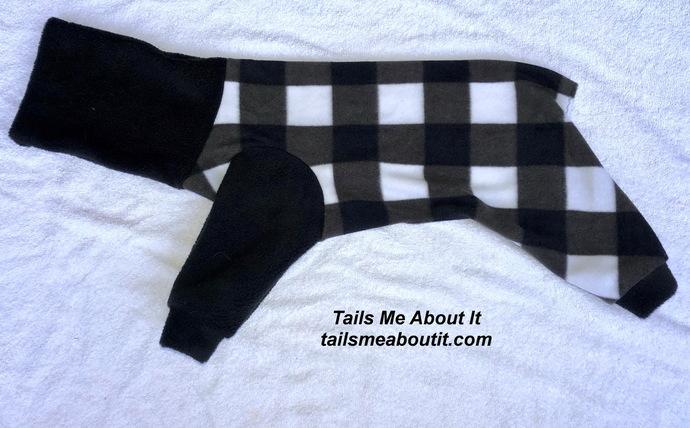 Black and White Checkered Fleece Snoodie Pajamas