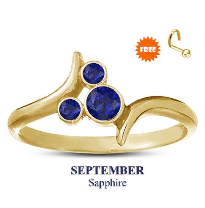 14k Yellow Gold Plating Blue Sapphire Disney September Birthstone Ring 925