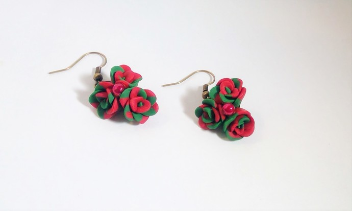 Holiday Earrings red/ green polymer clay hand formed flowers jewelry gifts