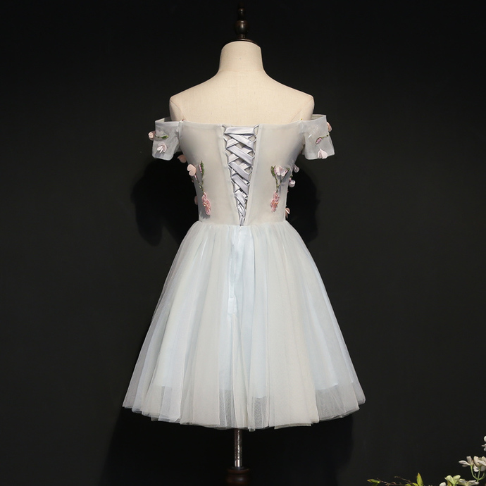 Beautiful Short Tulle Light Blue Party Dress, Off Shoulder Homecoming Dress