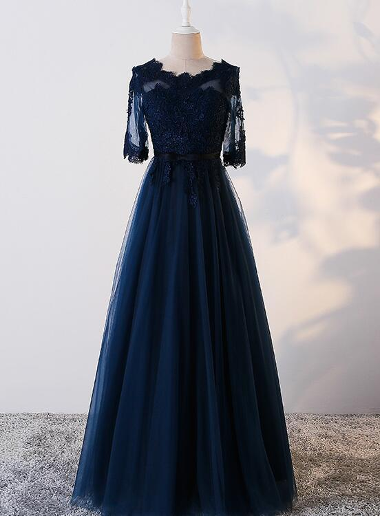 Navy Blue Fashionable Long Prom Dress, Junior Party Dress 2020