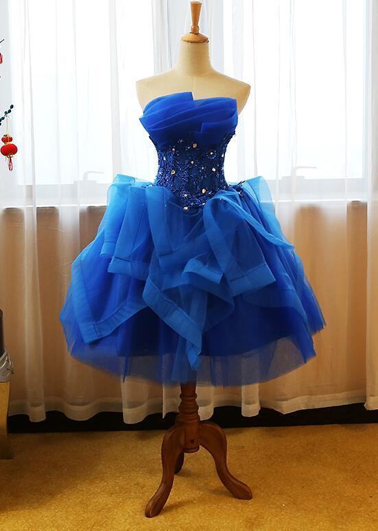Blue Tulle Short Party Dress 2020, Royal Blue Homecoming Dress
