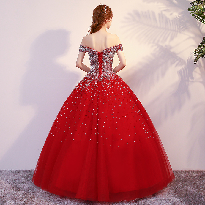 Beautiful Red Sequins Long Prom Dress, Beaded Sweetheart 16 Dresses