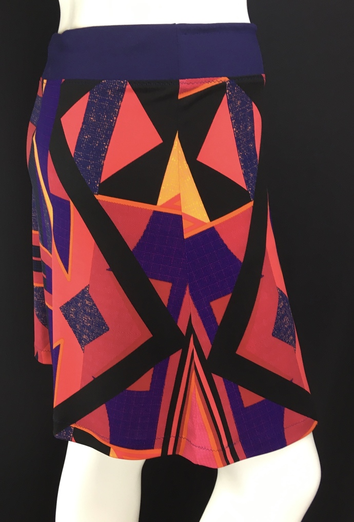Geometric Multi Colored Silky Skirt with Hidden Adjustable Tie Comfortable