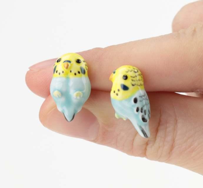 Parakeet ceramic earrings Parrot Earrings budgie jewelry Home pets Birds jewelry