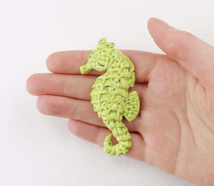 Green Seahorse brooch Ceramic seahorse pin Ocean animals Jewelry Seahorse