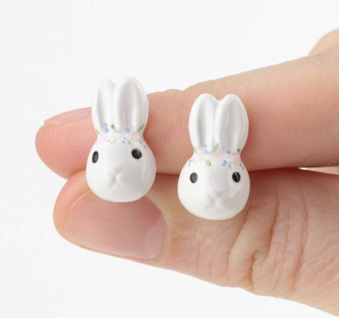 Rabbit ceramic earrings with flower crown Animals jewelry Forest earrings Wild