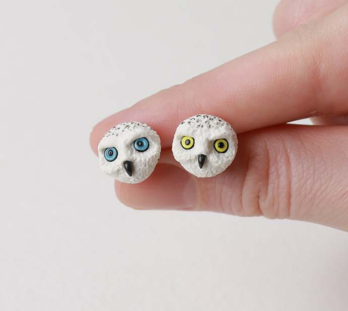 White Owl earrings Magical Owl stud earrings Owl jewelry Magic Hogwarts Wise Owl