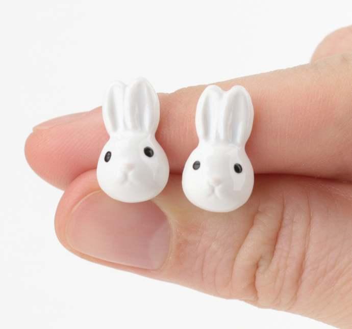 Rabbit earrings Ceramic hare stud earrings Animals jewelry Rustic earrings Wild