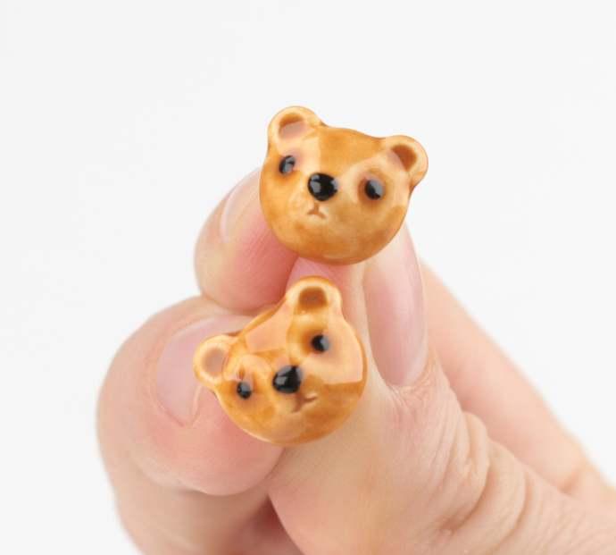 Ceramic bear earrings Brown Bear earrings Teddy bear Jewelry bear pin earrings