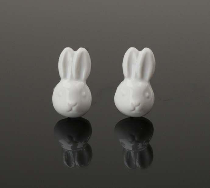 Rabbit earrings Ceramіc hare stud earrings Animals jewelry Rustic earrings Wild