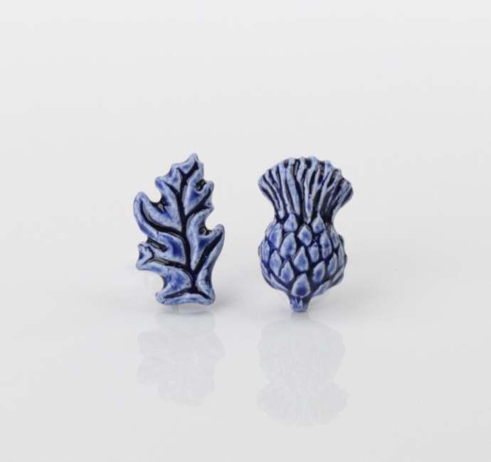 Thistle earrings Ceramc thistle studs Scottish thistle Blue flower earrings
