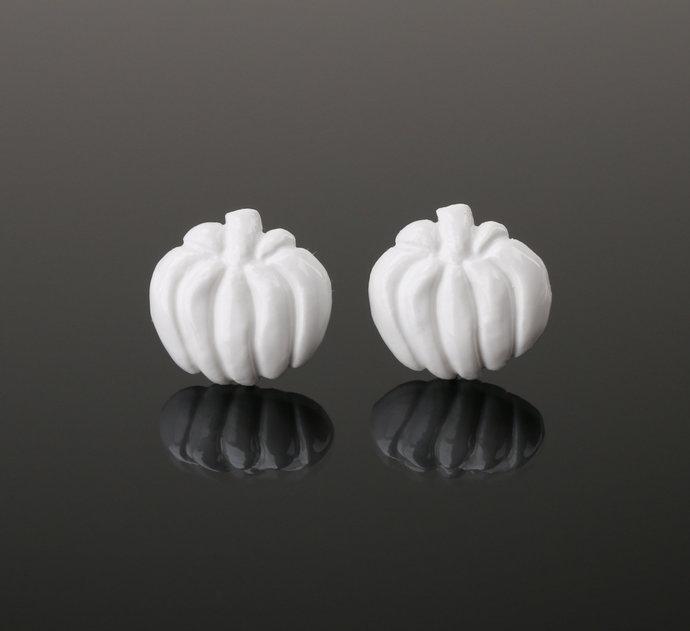 Ceramic pumpkin earrings Halloween pumpkin jewelry gift White pumpkin Ceramic