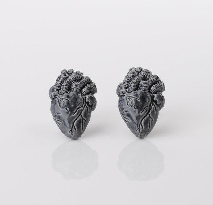 Anatomical heart Earrings Ceramic Gray heart Earrings The Heart of Man Jewelry