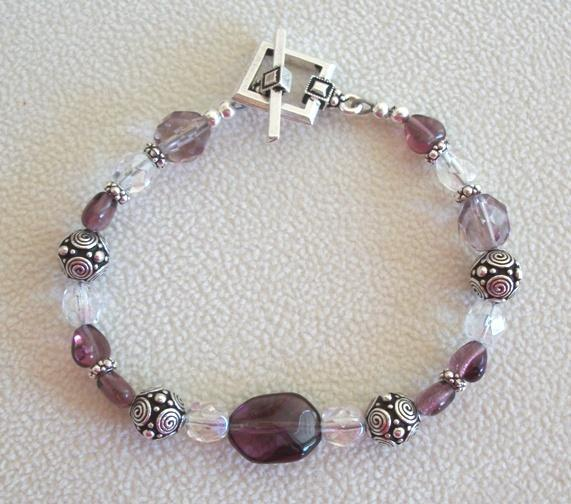OOAK Glass Beaded Heart Handmade Bracelet in Purple