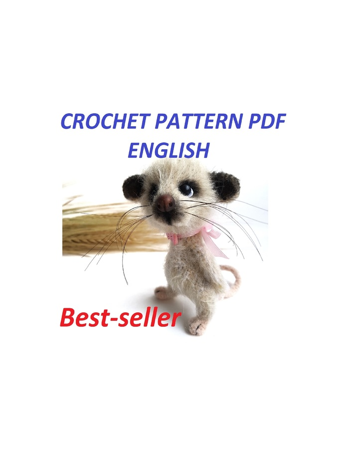 Cute Mouse Toy, Crochet Pattern with Photos, DIY fluffies, Amigurumi rat, easy