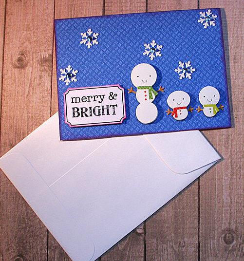 Merry & Bright Snowmen Trio Christmas Note Card, Winter Fun, Happy Holidays,
